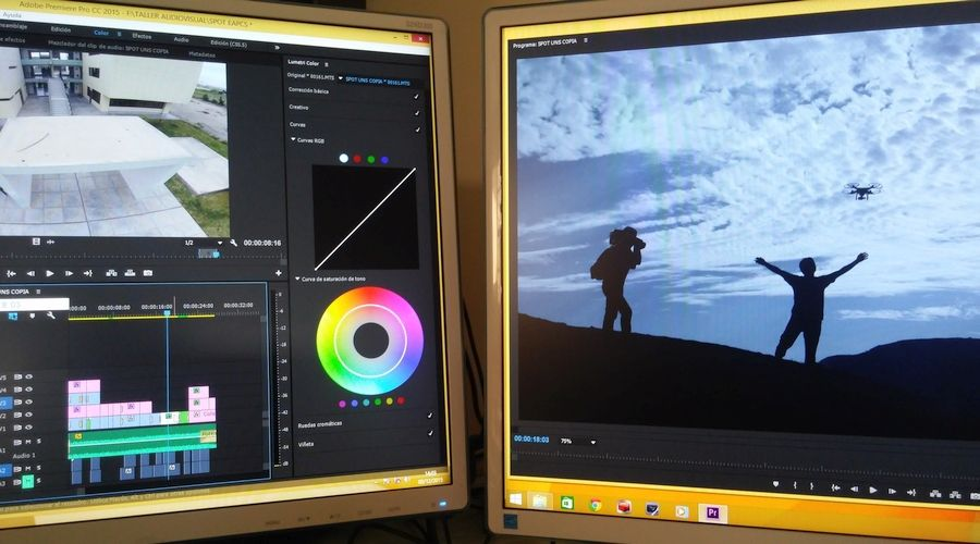 Video Editing Software with dual computer screen monitors