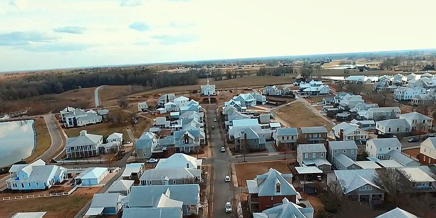 UAV panoramic view Montgomery metro area real estate development